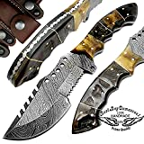 Ram Horn 9.5'' Tracker Fixed Blade Custom Hand Made Damascus Steel Hunting Knife 100% Prime Quality