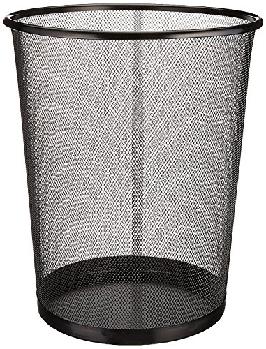 Zuvo Mesh Wastebasket Metal Wire Garbage Trash Can for Office Home Bedroom Height 10.1' Width 10', 4 Gallon (16 Quart) (1, Black)