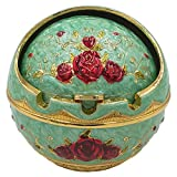 Honoro Windproof Ashtray with Lid for Outdoor and Indoor Use,Metal Portable Cigarette Ashtray with Gift Box,Ball Ashtray,Red Rose,Light Green
