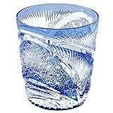 Edo Kiriko Crystal Double Old Fashioned Glass, 8.4oz Cut Glass Hisho Skyward - Blue [Japanese Crafts Sakura]