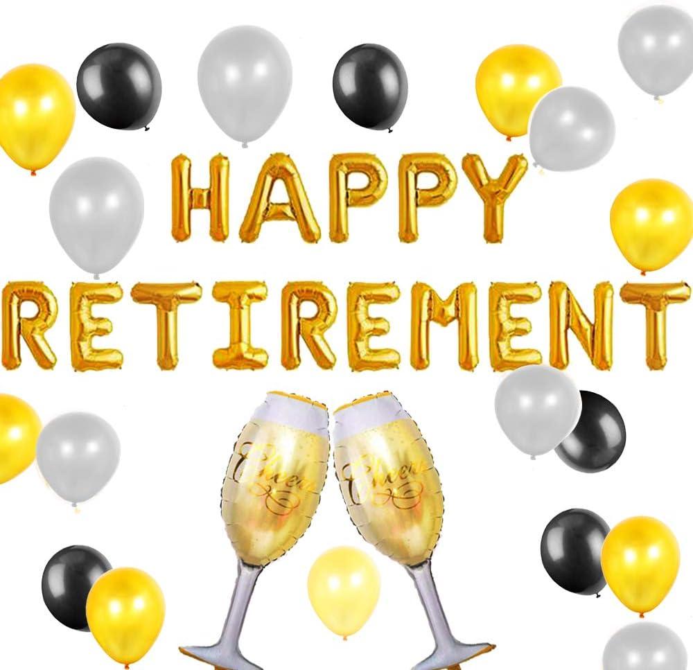 Jevenis Set Of 18 Happy Retirement Balloons Happy Retirement Party Decorations The Legend Has Retired Balloons Happy Retirement Banner Balloons Amazon Co Uk Toys Games