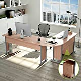 83 Inches Tribesigns Modern L-Shaped Desk with Return and Mobile File Cabinet, Corner Computer Desk Study Table Reversible Super Sturdy Workstation for Home Office Wood & Metal with Drawers, Salt Oak