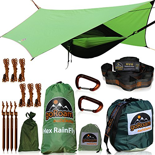 GoRoam Outdoors Camping Hammock with Mosquito Net and RainFly. HEX Rain Fly Waterproof Camping Tarp & Tent Shelter. Pro Grade Micro Hex RipStop Includes Loop Tree Straps, Aluminium Stakes & Guy Lines