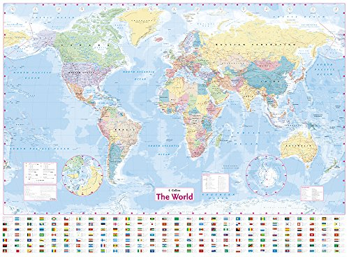 [HBz8M.B.E.S.T] Collins World Wall Laminated Map by Collins Maps R.A.R