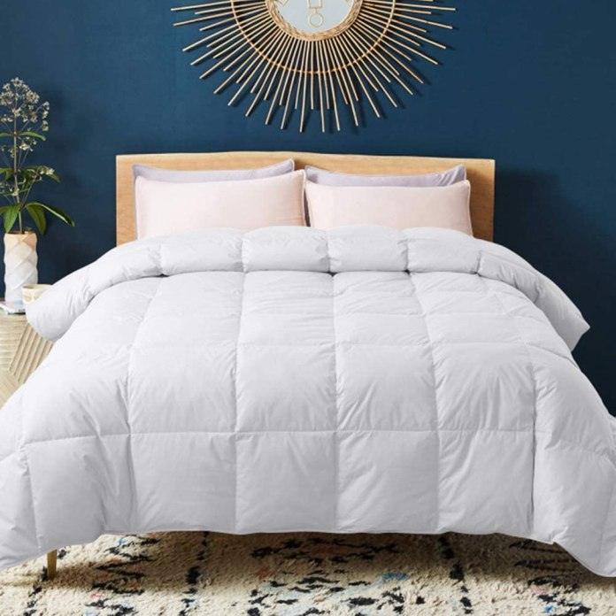 Down Comforter with Corner Tabs White Goose Duck Down and Feather Filling Medium Warmth All Season