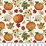 Fall Pumpkin Garden Cotton Fabric by The Yard