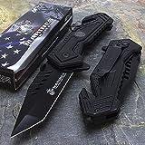 U.S. MARINES Knife Licensed USMC MARINES Assisted Military Knives BLACK Tactical Tanto Knife