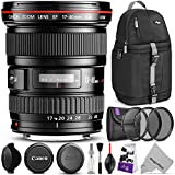 Canon EF 17-40mm F/4L USM Ultra Wide Angle Zoom Lens w/Advanced Photo and Travel Bundle - Includes: Altura Photo Sling Backpack, UV-CPL-ND4, Camera Cleaning Kit