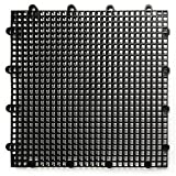 DuraGrid ST12BLAK, Black Comfort Tile Interlocking Modular Multi-Use Safety Floor Matting (12 Pack), Piece