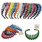 Plastic Headband with Teeth - 12 Hard Headbands - Bright Color Headbands by CoverYourHair
