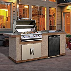 Stucco Grill Island With Tile Top And 4 Burner Stainless Steel Gas Grill, 7'/Medium