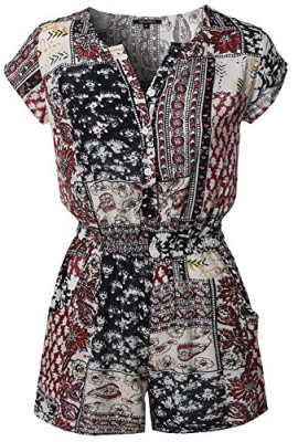 Awesome21 Women Casual Summer Bohemian Print Surplice Neckline Sleeveless  Romper 9d70310a4b4a