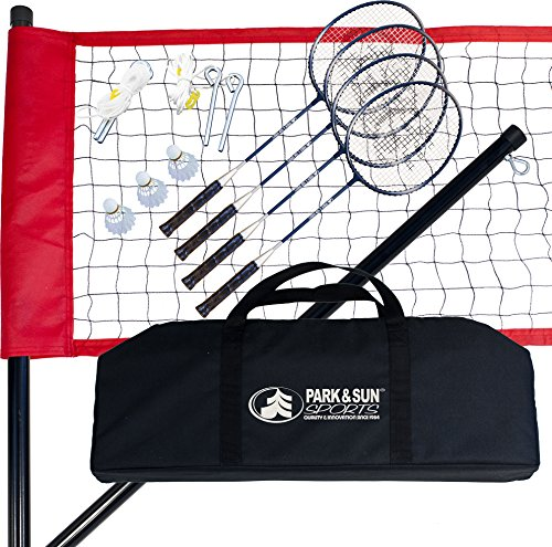 61W7 u1L7GL Portable Outdoor Badminton Net System with Carrying Bag and Accessories: Sport Series