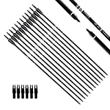 Tiger Archery 30Inch Carbon Arrow Practice Hunting Arrows with Removable Tips for Compound & Recurve Bow(Pack of 12) (Black White)