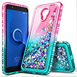 Alcatel TCL LX Case (A502DL), Alcatel Avalon V (Verizon Wireless)/1X Evolve/IdealXTRA, NageBee Glitter Liquid Waterfall Floating Sparkle Shiny Bling Diamond Girls Kids Women Cute Case -Pink/Aqua