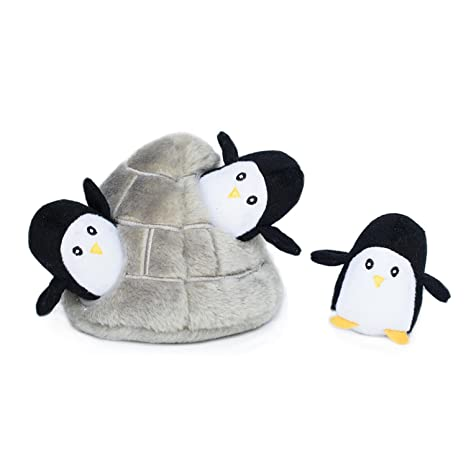 Zippypaws Zoo Friends Burrow Interactive Squeaky Hide And Seek Plush Dog Toy Penguin Cave