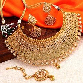 Sukkhi-Exclusive-Gold-Plated-Wedding-Jewellery-Kundan-Choker-Necklace-Set-For-Women-N73395