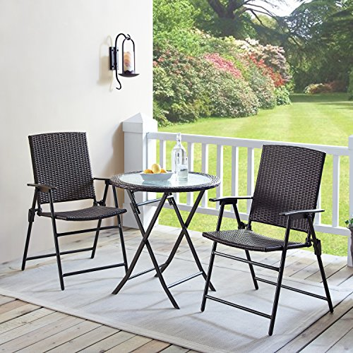 Rimba Outdoors 3 Pieces Wicker Folding Bistro Set, Balcony Table and Chairs Sets, Garden Backyard Furniture