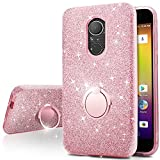 T-Mobile REVVL Plus Case,Silverback Girls Bling Glitter Sparkle Cute Phone Case with 360 Rotating Ring Stand, Soft TPU Outer Cover + Hard PC Inner Shell Skin for T-Mobile REVVL Plus -Rose Gold