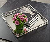 Le'raze Beautiful Mirrored Tray with Chrome Rails, Elegant Square Vanity Mirror Tray with Side Bars, Makes A Great Bling Gift 16 Inch