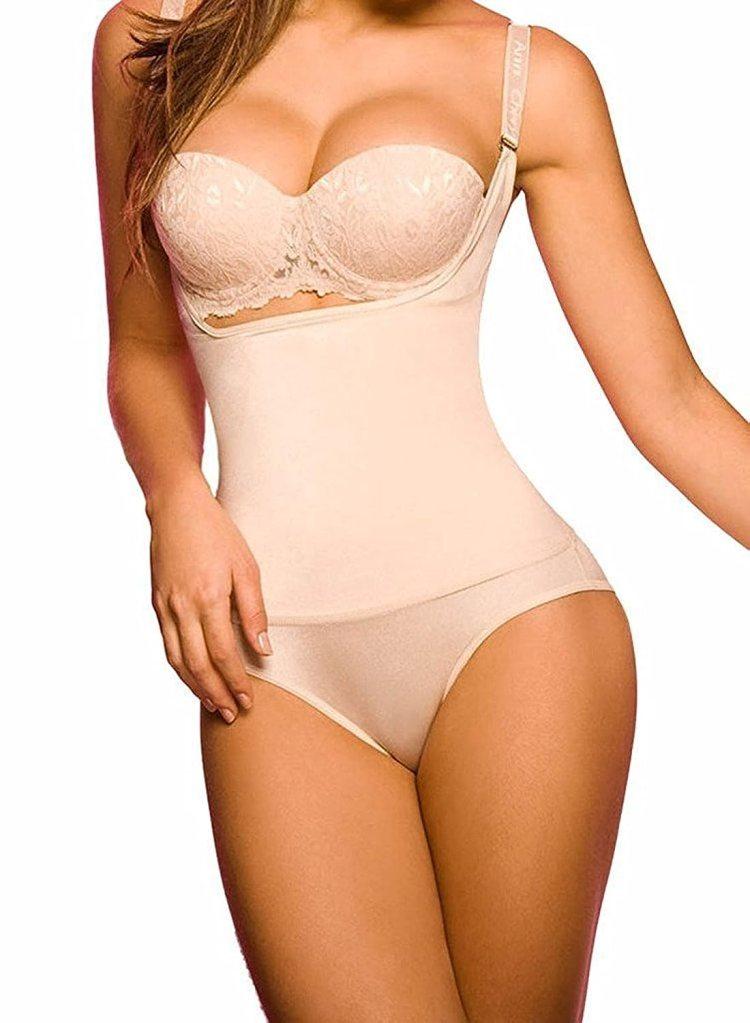 a0fe44185a941 1: Camellias Women's Seamless Firm Control Shapewear Open Bust Bodysuit  Body Shaper Black