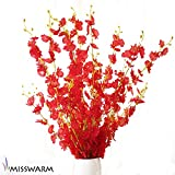"""Misswarm 10 Pieces 37.7"""" Long of Orchid Dancing lady  Butterfly Artificial Flower Artificial flowers Fake Flower for Wedding Home Office Party Hotel Restaurant Patio or Yard Decoration(Red)"""