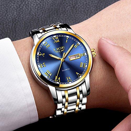 Watches,Mens Full Stainless Steel Blue Men Watch Luminous Quartz Analog Watch Fashion Casual Business Dress Wristwatch Silver Waterproof 30M Casual Clock
