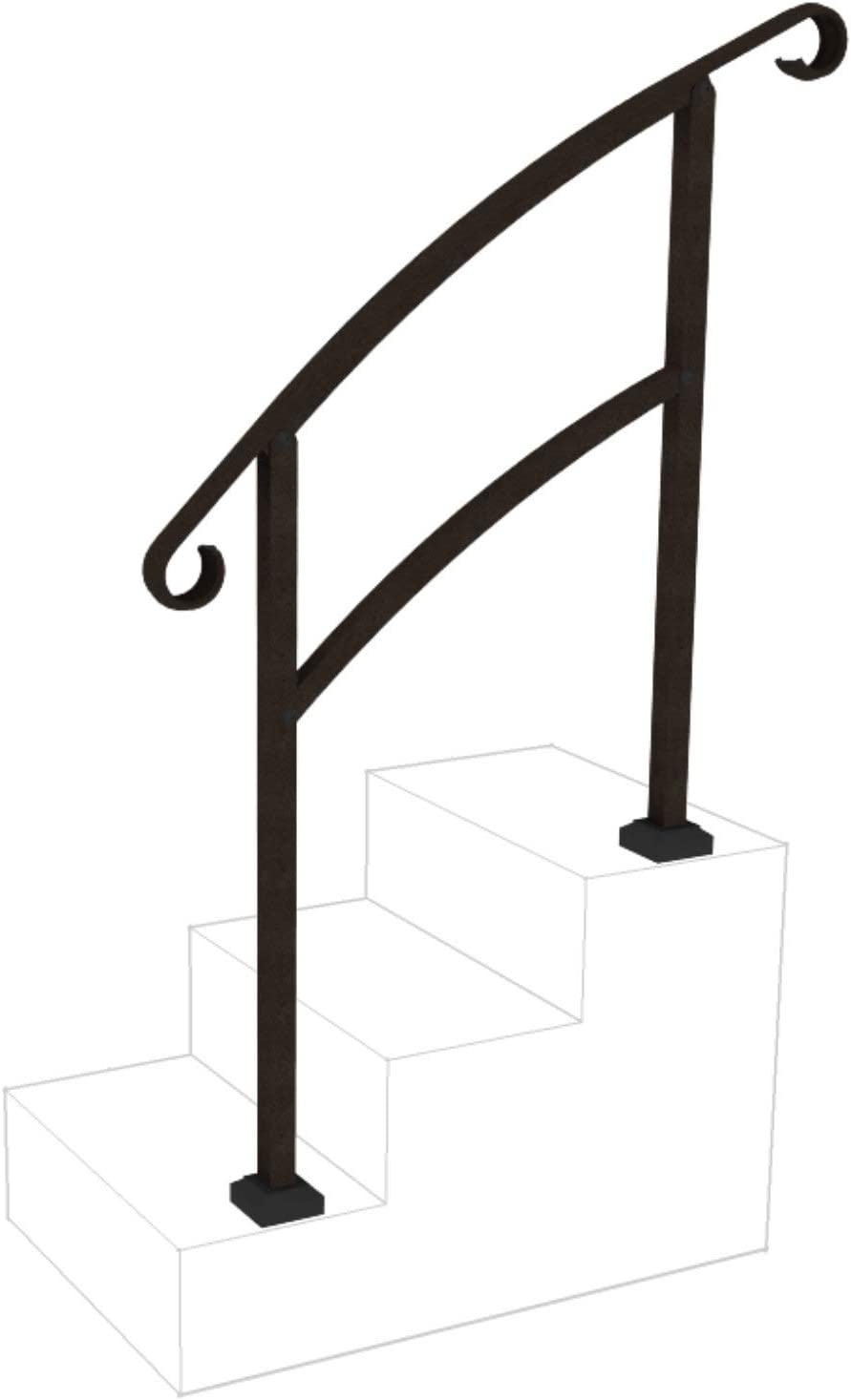 Instantrail 3 Step Adjustable Handrail Black Amazon Com | Railing For Concrete Steps | Stairwell | Retaining Wall | Concrete Slab Detail | Commercial | Safety