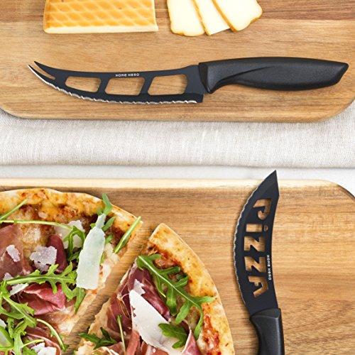 Stainless Steel Knife Set with Block - 13 Kitchen Knives Set Chef Knife Set  with Knife Sharpener, 6 Steak Knives, Bonus Peeler Scissors Cheese Pizza