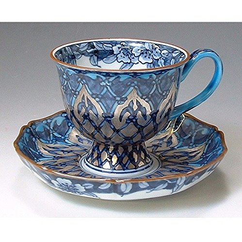 Kiyomizu-kyo yaki ware. Coffee teacup and saucer silver mosque with wooden box. Porcelain. kymz-CKX003
