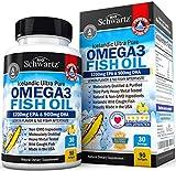 Omega 3 Fish Oil Supplement - Immune & Heart Support Benefits- Promotes Joint, Eyes, Brain & Skin Health - Non GMO, Pharmaceutical Grade - Lemon Flavor EPA 1200mg, DHA 900mg Fatty Acids Gluten Free