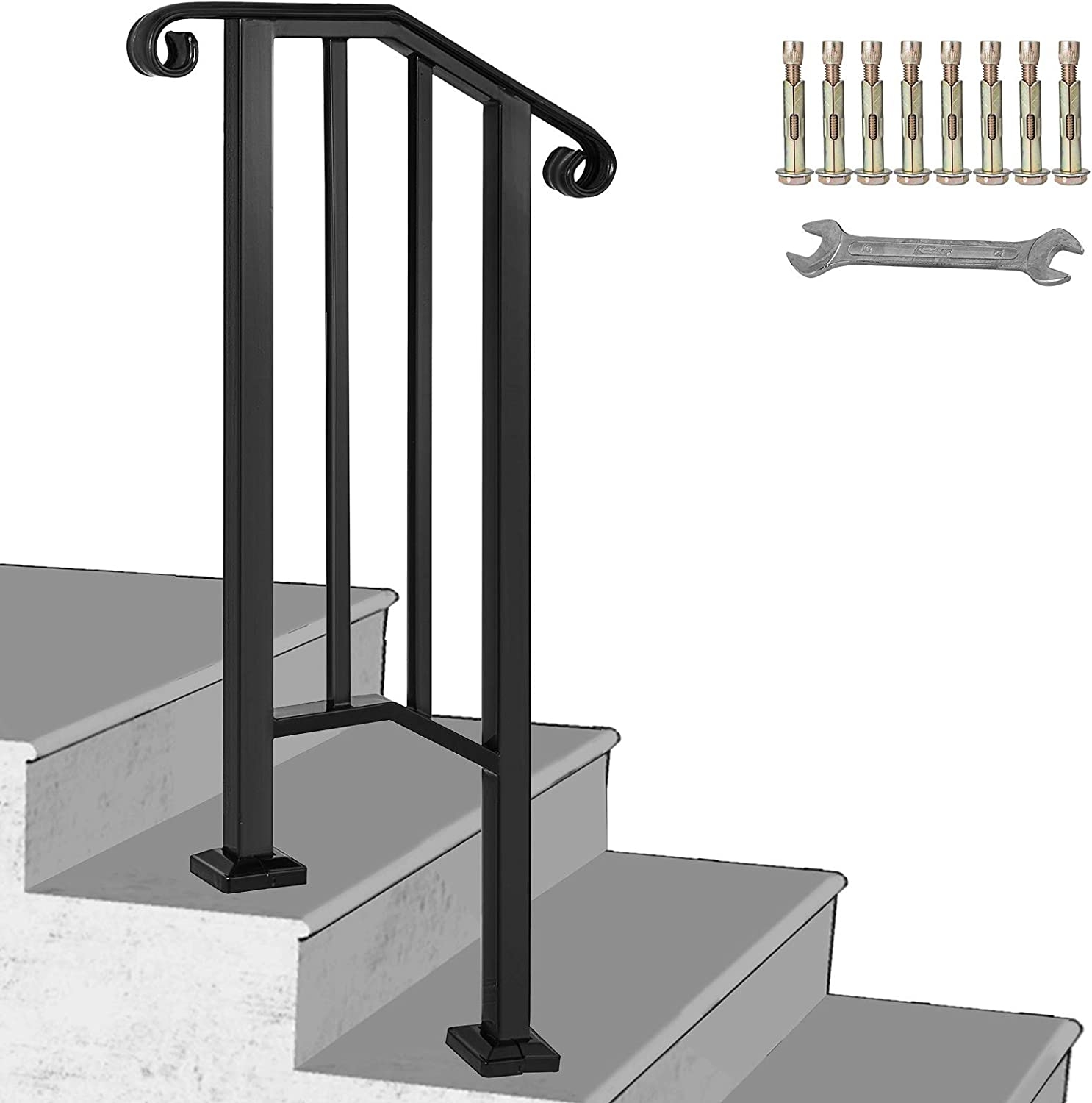Happybuy Handrail Picket 1 Fits 1 Or 2 Steps Matte Black Stair | Iron Handrails For Outside Steps | Railing Systems | Front Porch | Aluminum Railing | Deck Railing