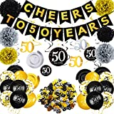 Zonon 50th Birthday Party Decorations Set, Cheers to 50 Banner Hanging Swirl Decorations 50th Birthday Balloons Table Confetti and Paper Pom Poms, Gold and Black