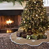 Aytai Christmas Tree Skirt 48 inches Xmas Burlap Tree Skirts White Snowflake Printed Christmas Decorations Indoor Outdoor