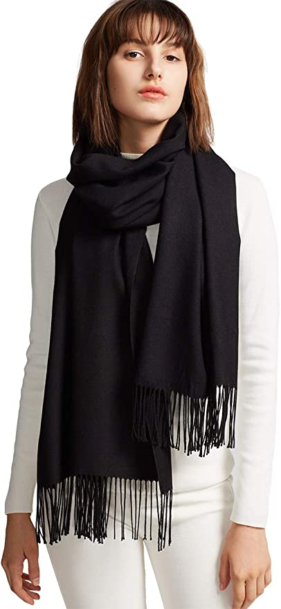 MaaMgic Womens Large Soft Cashmere Feel Pashmina Shawls Wraps Winter Light Scarf ( Black , One Size )