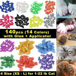 VICTHY 140pcs Cat Nail Caps, Colorful Pet Cat Soft Claws Nail Covers for Cat Claws with Glue and Applicators 9