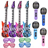 ArtCreativity Inflatable Rock Star Band Set - 12 Piece - Includes 4 Inflatable Guitars, 4 Microphone Inflates, and 4 Shutter Glasses - Birthday Favors, Gift Idea, Slumber Party Supplies
