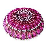 Napoo 2018 New Indian Mandala Print Pillows Round Bohemian Home Pillows Case Cushions (H)