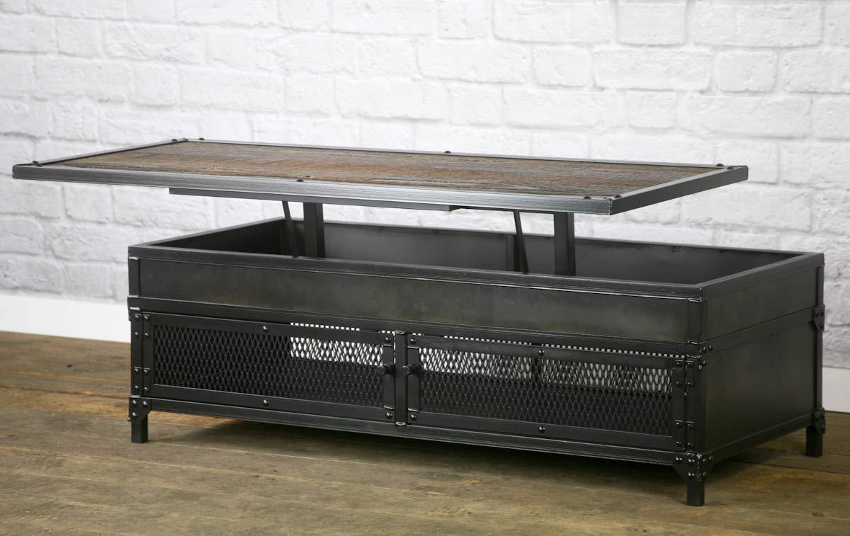 Amazon Com Vintage Industrial Lift Top Coffee Table Modern Coffee Table Reclaimed Wood Distressed Steel Handmade