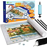 D-FantiX Jigsaw Puzzle Mat Roll Up, Puzzle Saver Store 500 1000 1500 Pieces 41 x 30 Inches Felt Puzzle Mat with Inflatable Tube, 3 Elastic Fasteners , Bonus Premium Pump and Storage Bag (Gray)