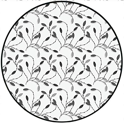 Short Plush Rugs mat Contemporary Graphic of Fall Autumn Leaves and Branches Simple Pure Shabby Chic Art Deco Gray White Game Kids Room 78.4' x 78.4' Round