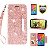 LG Q7 Case, LG Q7 Plus Case, Case for LG Q7+/LG Q7 Alpha/Q7α, with Screen Protector, TPU + Leather Bling Glitter Flip Wallet Case with Kickstand Credit Card Holder Slot for Girls/Women