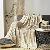 Yachee Super Cozy Soft 100% Cotton Throw Blanket, Couch Cover Knit Crochet Sweater Texture, Decorative Knitted Blanket for Sofa Couch Bed, Beige Cream - 50 x 70 Inch