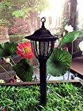 Solar Powered Electric Bug Light Zapper- Outdoor Cordless Flying Insect Killer- 8 Hour Operation- Beautiful Garden Lamp- Portable LED Machine- Best Stinger for Mosquitoes/Moths/Flies & More (Black)