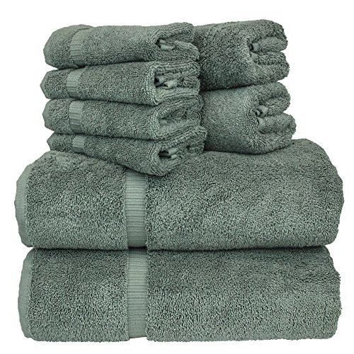 Luxury Hotel & Spa Bath Towel Set Turkish Cotton Towel Bundle Total 8-Piece Set, 2 Bath Towel 27'X54', 2 Hand Towel 16'X30', 4 Washcloth 13'x13', Set of 8 (Gray)