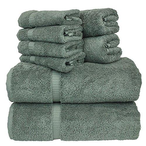 Luxury Hotel & Spa Bath Towel Set Turkish Cotton Towel Bundle Total 8-Piece Set, 2 Bath Towel 27'X54', 2 Hand Towel 16'X30', 4 Washcloth 13'x13', Set of 8 (Gray)