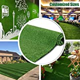 Synthetic Artificial Grass Turf Customized Sizes Decorations for Fence Drainage Holes & Rubber Backing, Indoor Outdoor Faux Grass Astro Rug Carpet Backdropfor Garden Backyard Patio Balcony