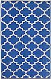 Fab Habitat Tangier Recycled Plastic Rug,  Regatta Blue & White, (4' x 6')