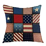 oFloral American Flag Patchwork Home Decorative Pillowcase with Stripe and Star Throw Pillow Case Square Cushion Cover for Sofa Couch Bedroom Living Room Dorm Decoration 18 x 18 Inch Blue Red