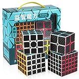D-FantiX Speed Cube Bundle, Zcube Carbon Fiber 2x2 3x3 4x4 5x5 Speed Cube Set Pack 2by2 3by3 4by4 5by5 Puzzle Toys